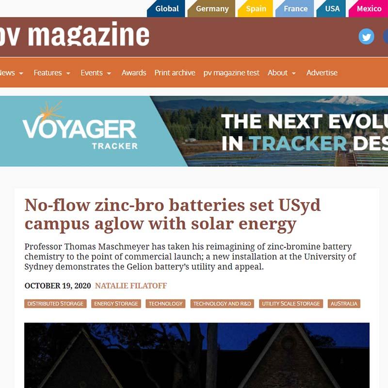 No-flow zinc-bro batteries set USyd campus aglow with solar energy